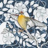 Arts and Crafts Bird IV Indigo Art Print
