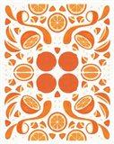 Retro Orange Otomi Art Print