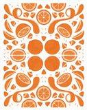 Retro Orange Otomi Monotone Art Print