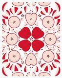 Retro Apple Otomi Monotone Art Print