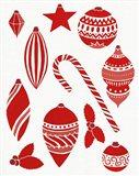 Christmas Otomi Tile III Art Print