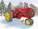 Christmas in the Heartland III Red Tractor Art Print