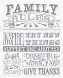Family Rules II Gray Words Art Print