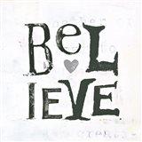 Believe Gray Hearts Art Print