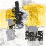 Action II Yellow and Black Sq Art Print