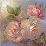Roses on Blue II Crop Art Print