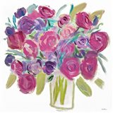 Pink Roses on White Art Print