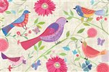 Damask Floral and Bird I Art Print