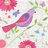 Damask Floral and Bird I Sq Art Print