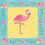Flamingo Dance I Sq Border Art Print