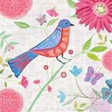 Damask Floral and Bird II v2 Art Print