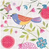 Damask Floral and Bird III v2 Art Print