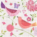 Damask Floral and Bird IV v2 Art Print