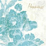 Toile Roses VI Teal Happiness Art Print