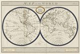 Torkingtons World Map with Indigo Art Print