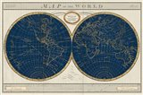 Torkingtons World Map Indigo Globes Art Print