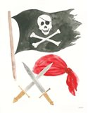 Pirates II on White Art Print