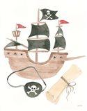 Pirates IV on White Art Print
