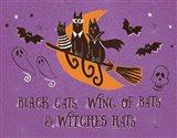Spooktacular I Black Cats Purple Art Print
