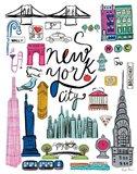 Travel NYC White Art Print