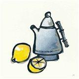 Tea and Lemons Navy Art Print