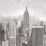 Manhattan in the Mist Gray Art Print
