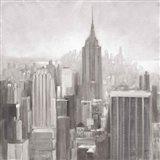 Manhattan in the Mist Gray Art Print