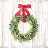Woodland Holidays Wreath no Bird White Art Print