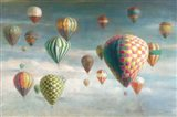 Hot Air Balloons with Pink Crop Art Print