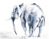 Lone Elephant Blue Gray Crop Art Print