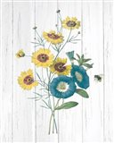 Botanical Bouquet on Wood II Art Print