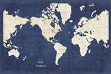 Blueprint World Map - No Border Art Print