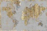 Gilded Map Light Gray Art Print