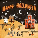 Spooky Village IV Happy Halloween Art Print
