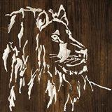 White Lion on Dark Wood Art Print