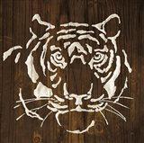 White Tiger on Dark Wood Art Print