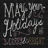 Quirky Christmas Merry and Bright Metallic Art Print