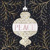 Jolly Holiday Ornaments Peace Metallic Art Print