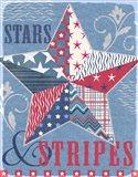 Stars and Stripes Star Dark Art Print