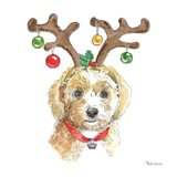 Holiday Paws VI on White Art Print