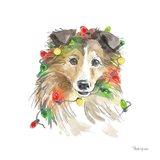 Holiday Paws IX on White Art Print