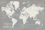 Slate World Map Art Print
