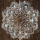 Mandala on Dark Wood Art Print