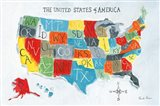 US Map Art Print