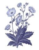 Dark Blue Botanical VI Art Print