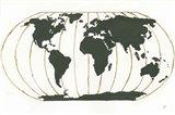 World Map Gold Lines Art Print