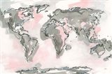 World Map Blush Art Print
