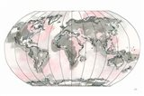 World Map Blush v2 Art Print