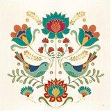 Folk Floral III v2 Art Print