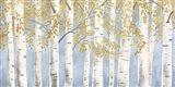 Fresh Forest Light Blue Gold Art Print